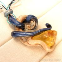 Necklace 1248 - Natural baltic amber and wood by AmberSculpture