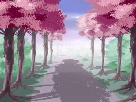 Anime Style  Treed Lane Background by wbd