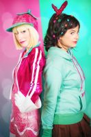 Vanellope Von Schweetz and Taffyta Muttonfudge by RedVelvetCosplay