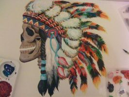 skull indian headdress painting by jodieallenx