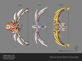 Norse Gods Bows Concept by slipled