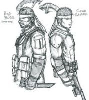 Big Boss and Solid Snake by RonaldTheBad