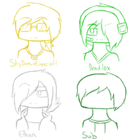 4 Minecraft Youtubers by MonochromeFuji