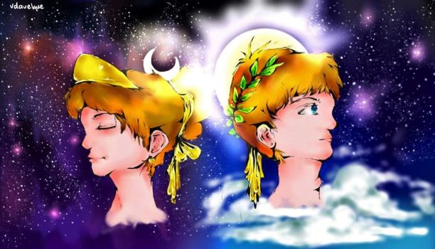 God Apollo and Goddess Artemis by Vdavelque