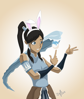 Korra the Waterbending Bunny by digital-vox