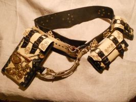 Black and white steampunk belt by ChanceZero