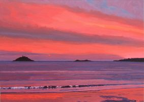 View of Ballycotton at Sunset by eastcorkpainter