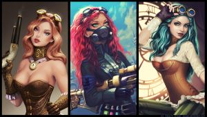 Wallpaper Steampunk hotties by Yuuza