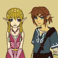 Link and Zelda Wii U by Scribblerb