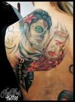 Muerte girl, the death and  a sandclock with blood by CAMOSartTATTOO