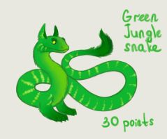 Green jungle fluffy snake adoptable CLOSED by Darkylucifer