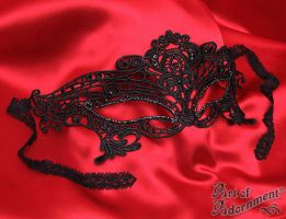 Black Gothic Lace Venetian Rhinestone Mask by ArtOfAdornment