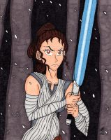 Rey And Her Lightsaber by RainbowFay