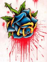 Bleeding Rose Tattoo Design by ravenkiokoshietu