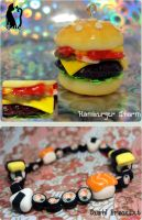 Sushi and Hamburger by Talty