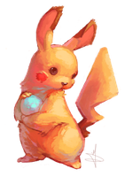 Pikachu and her egg by odolmen