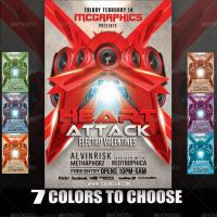 HEART ATTACK ELECTRO VALENTINES FLYER TEMPLATE by MCerickson