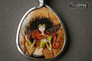 Pendant with handpainted Little dragon by Shisona