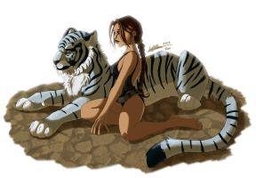 Lara Croft and her Tiger by ClaireLyxa