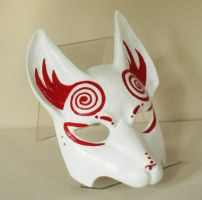 Red Spiral Kitsune Mask by nondecaf