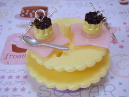 Giga Pudding on Star Plates Earrings by PoniesOfDOOOM
