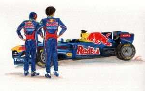 Red Bull - water colour by evionn