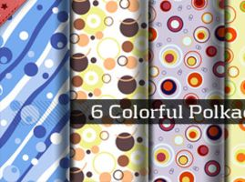 Seamless Colorful Polkadot Patterns by backgroundsfind