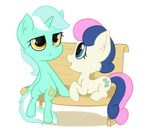 Lyra and Bonbon Sticker Design by hirurux