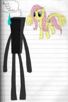 Fluttershy vs Enderman by Grizno