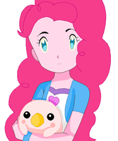 Human Pinkie Pie with Pururumon by SuperMarcosLucky96