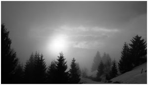 Sky and fog Black and white by ketou
