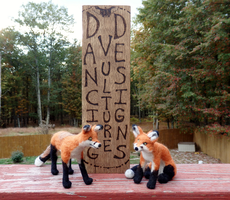 Needle Felted Red Fox Pair by DancingVulture