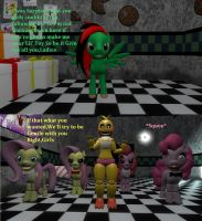 Dusty Wrath meets Toy Chica's Crew by SkyrimFireDragon