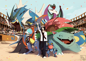 Commission XIII - Pokemon team by RubyFeather