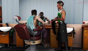 At the barbershop between photo sessions by vwrangler