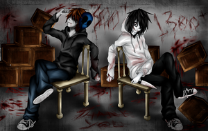 Eyeless Jack and Jeff The Killer (+Thank You!) by Ren-Ryuki