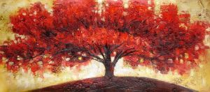 Wide Red Shade Tree by ModernArtist123