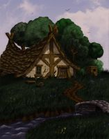 Cabin in the woods (colored version) by winterfluss