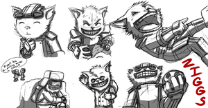 Ziggs Sketch Page by Krowjak