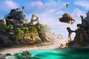 Steampunk Pirate Island by jjpeabody