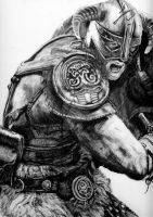 Skyrim Charcoal Drawing by RishanCooray