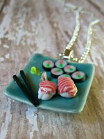 Sushi dinner necklace by kawaiibuddies