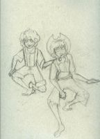 Tom and Huck Doodle by cartoonation