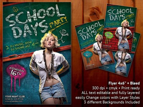School Days Party Flyer by PVillage