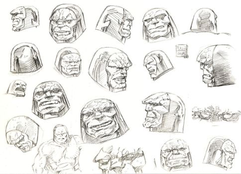 Darkseid head sketch by aliduzgun