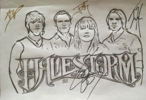 Halestorm drawing signed by band by SwampedTruth