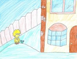 Lisa Simpson Sad in Front Yard by smartjazzgirl