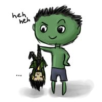 loki and hulk sketch by trazar