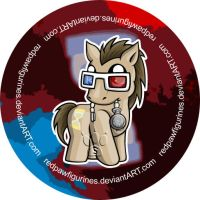 Doctor Whooves Chibi Badge by RedPawDesigns