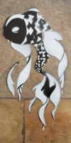 B+W Koi Stencil on Tile by darcydoll